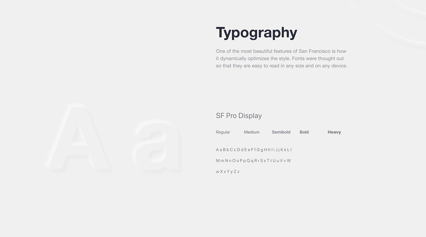 Style guide. Typography. San Francisco Pro Display.