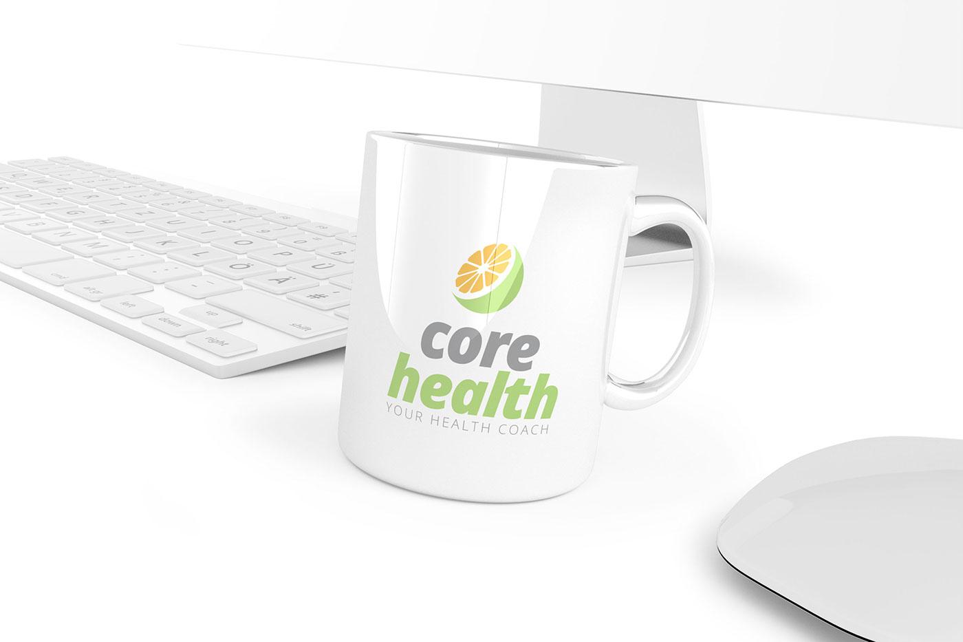 logo Food  Health green fresh Brand & Identity nutrition flat colorful modern care hospital orange Fruit