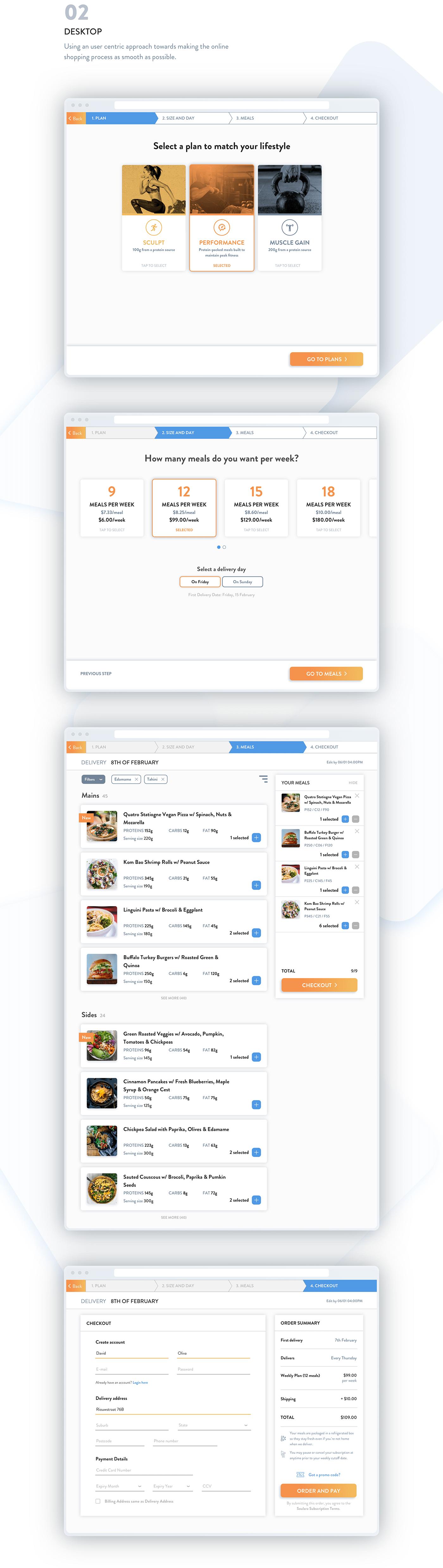 UX design ui design Ecommerce healthy. food food delivery sketch