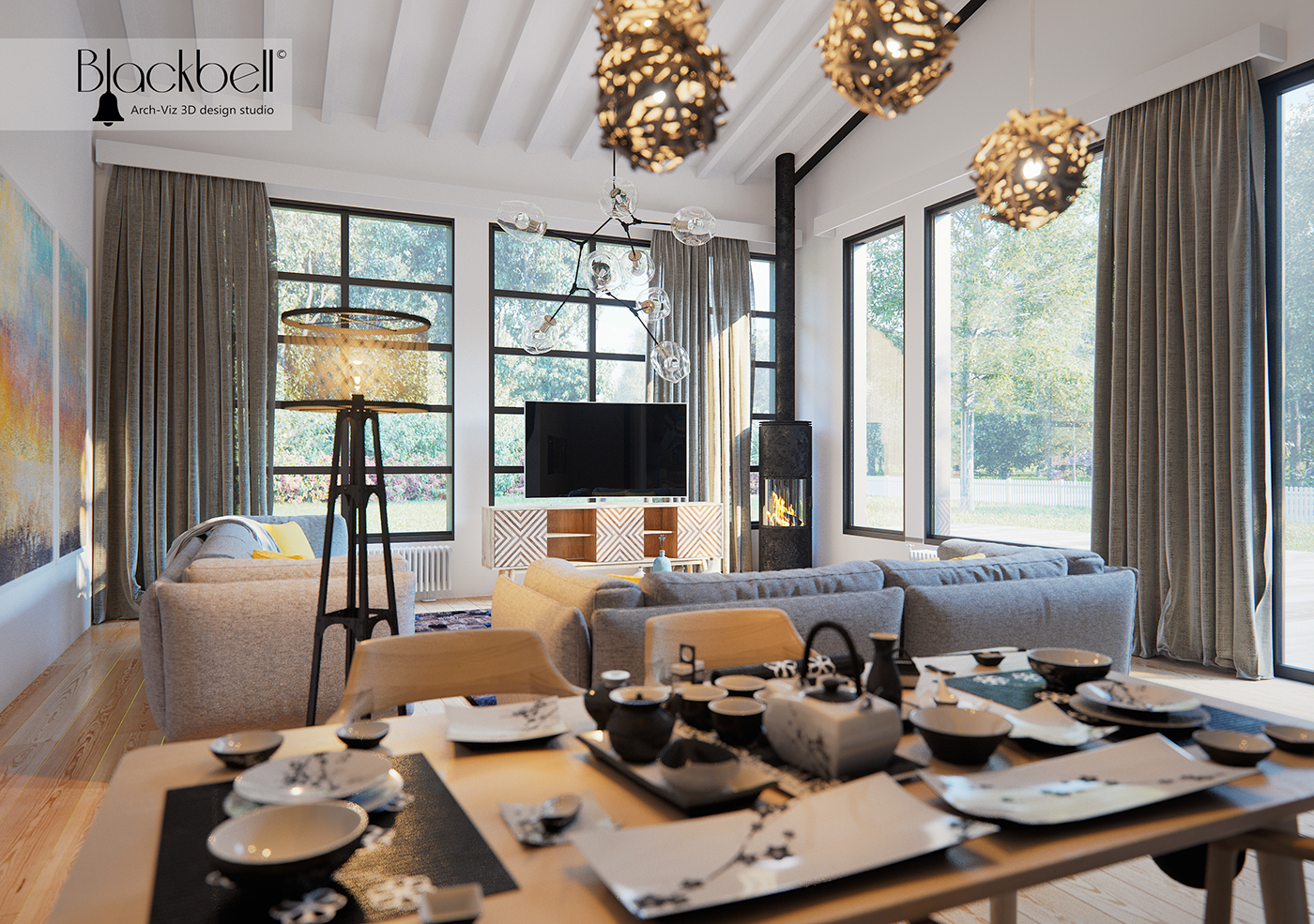 Swidish Style Interior 3d Visualisation dinning room