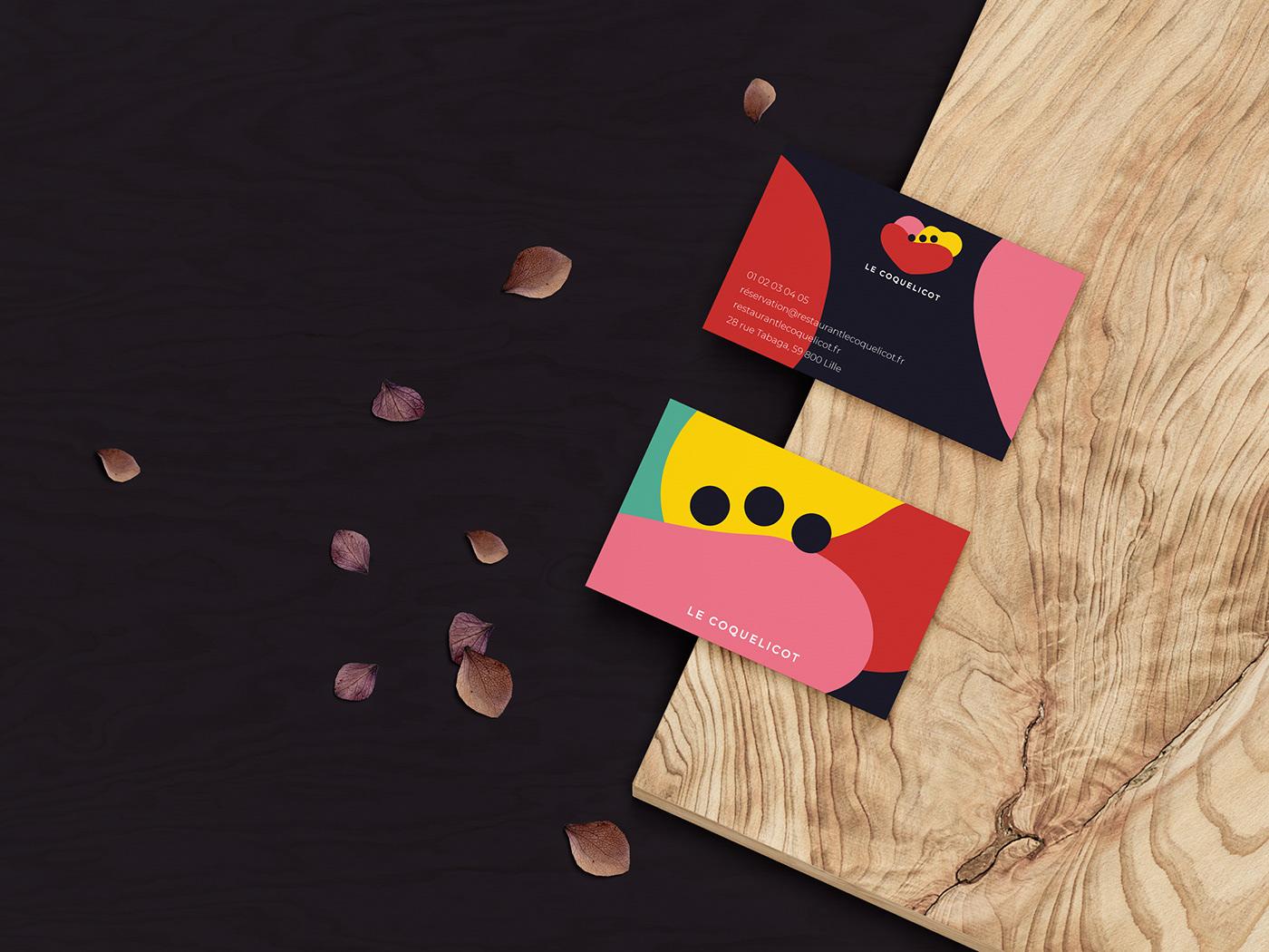branding  restaurant business card colorful identity menu