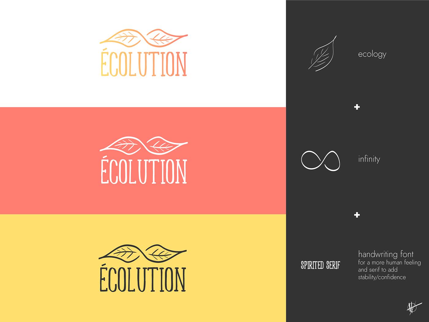 Ecology Ecolution graphic design  infinity leaf logo Logo Design