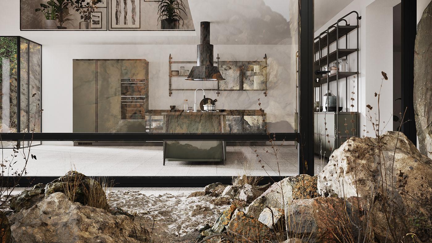 design corona renderer Quixel MegaScans Scavolini kitchen Render visualization 3D