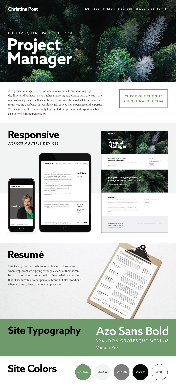 Web Design  Sqaurespace portfolio site personal branding resume design print design  typography   Project Manager Responsive Design