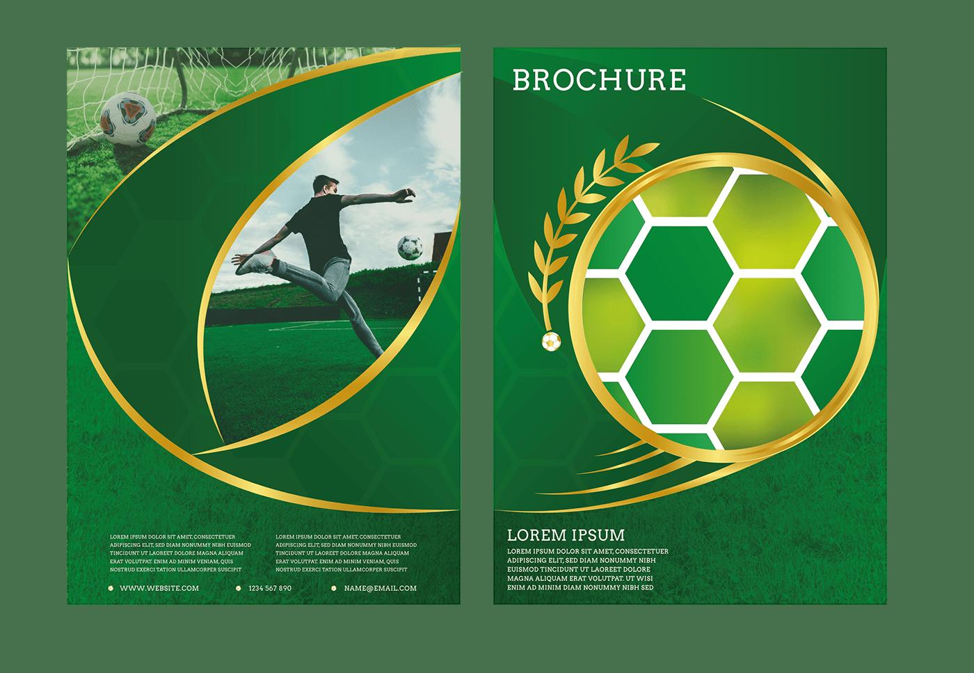 Bi Fold brochure football Illustrator print sport vector