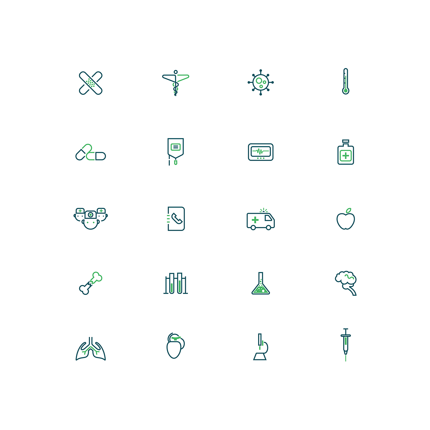 An icon set I did a while back with a medical theme in mind.