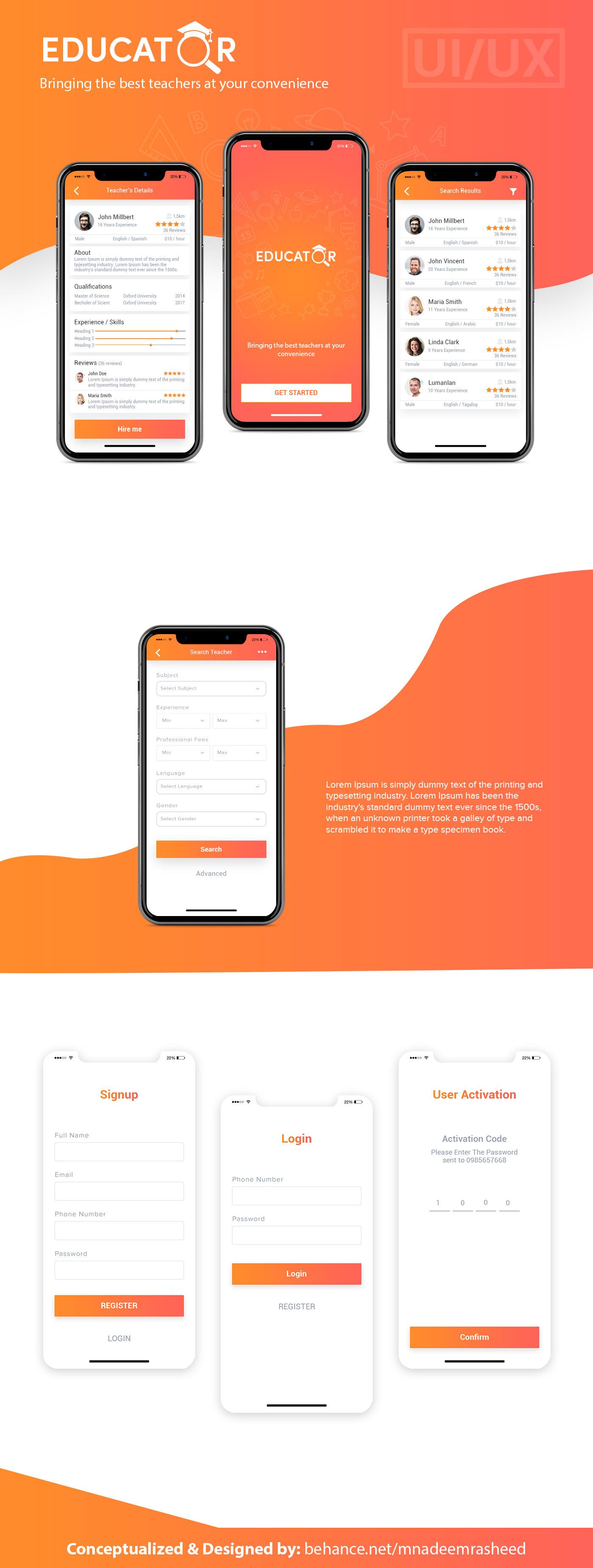 teacher finder app Mobile app Mobile Application Design hire teacher app study app education app iOS App Android App creative mobile app