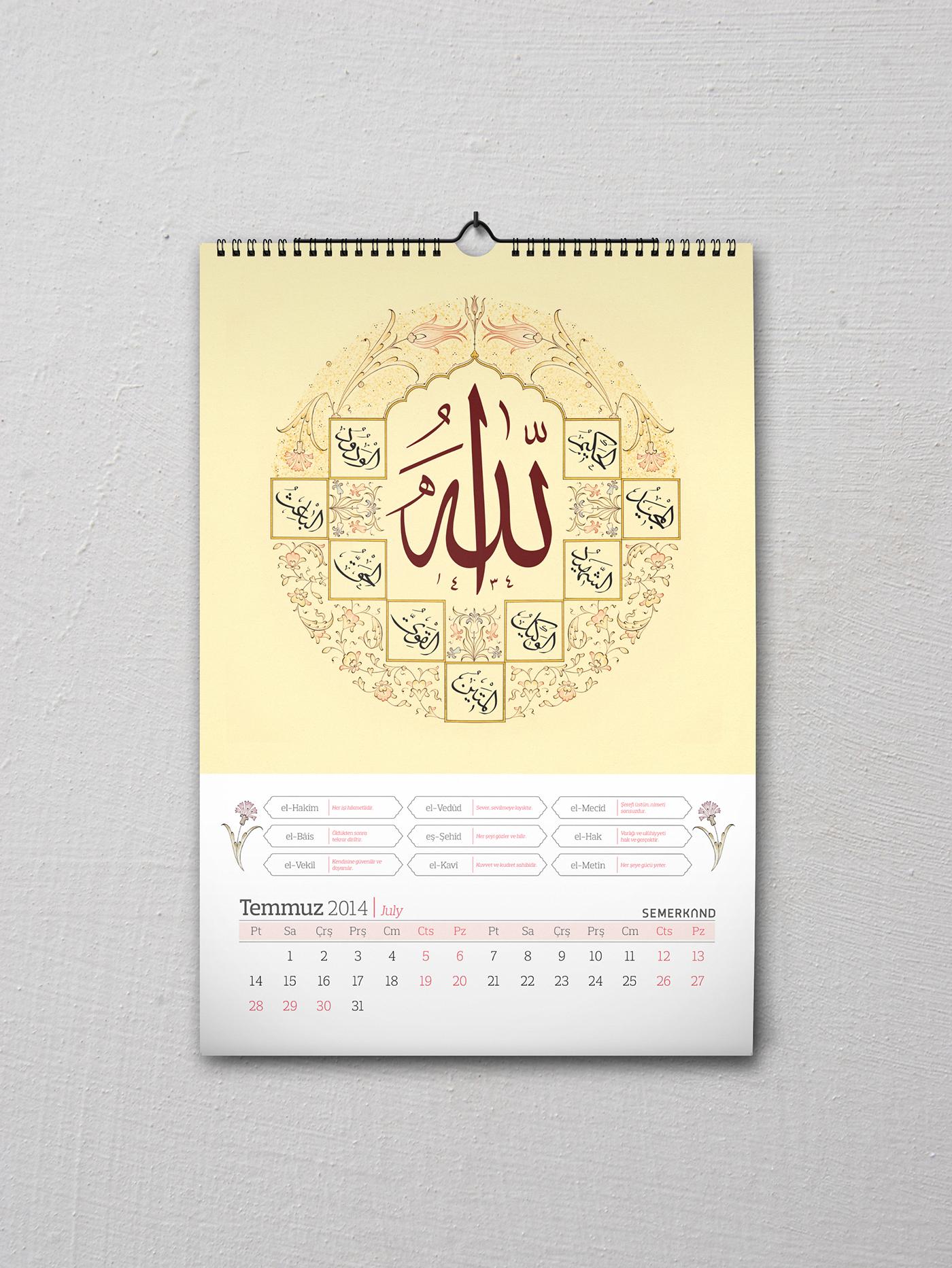 calendar takvim hat motif tezhip ottoman ebru istanbul arabic