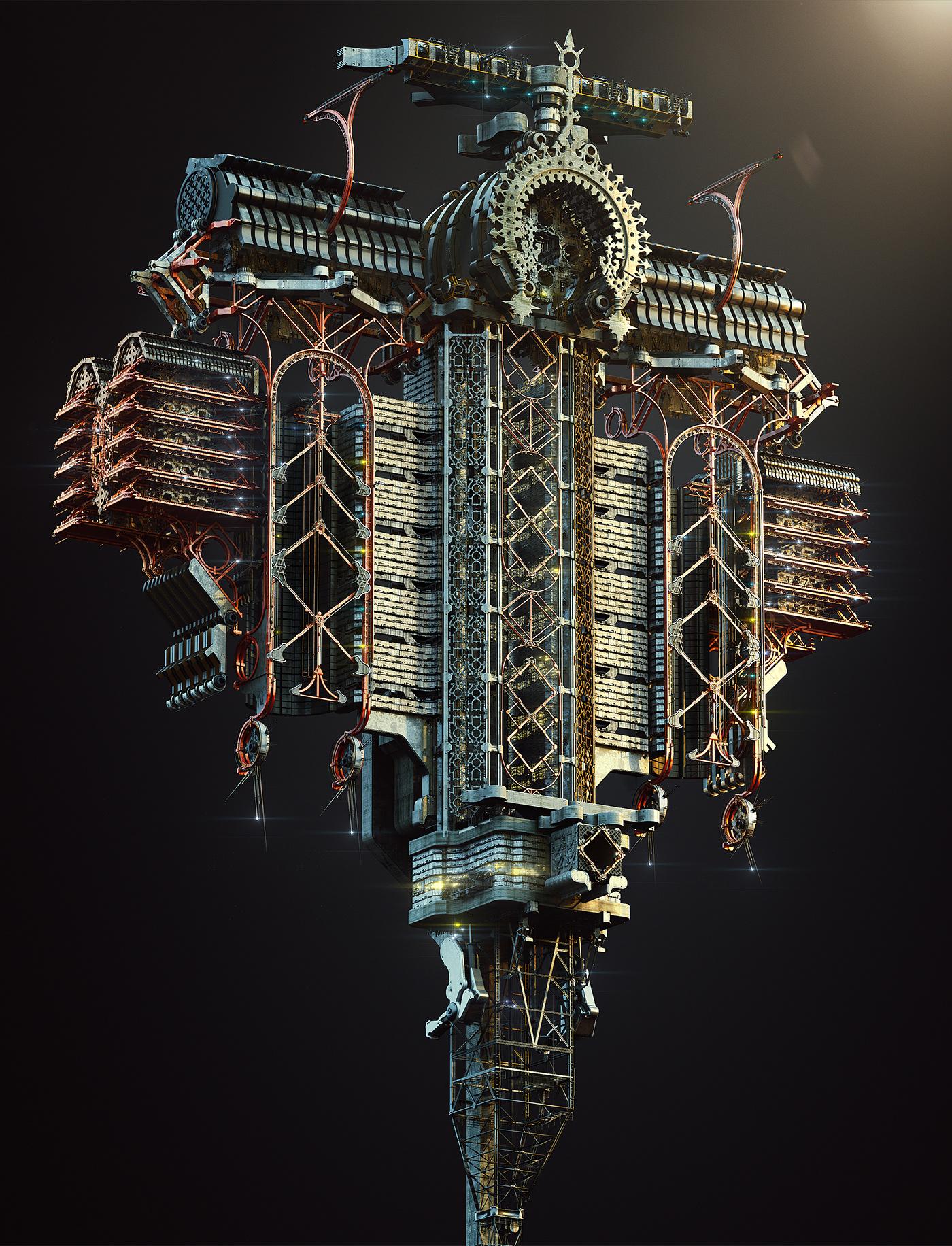 Adobe Portfolio box concept art tower