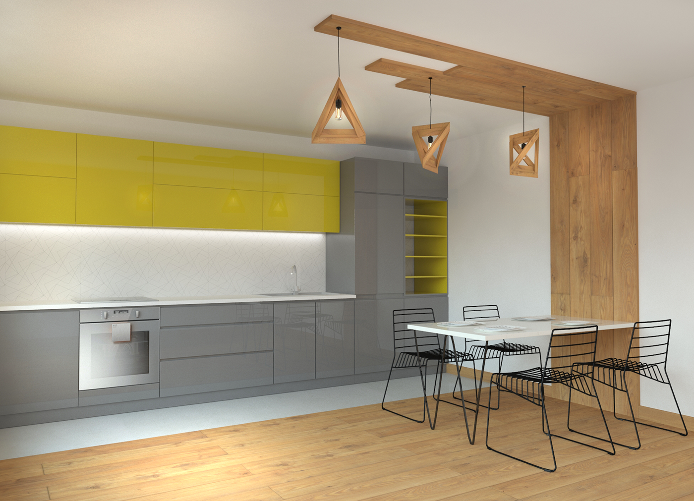 Modern kitchen design MDF boards & Wooden floor on Behance