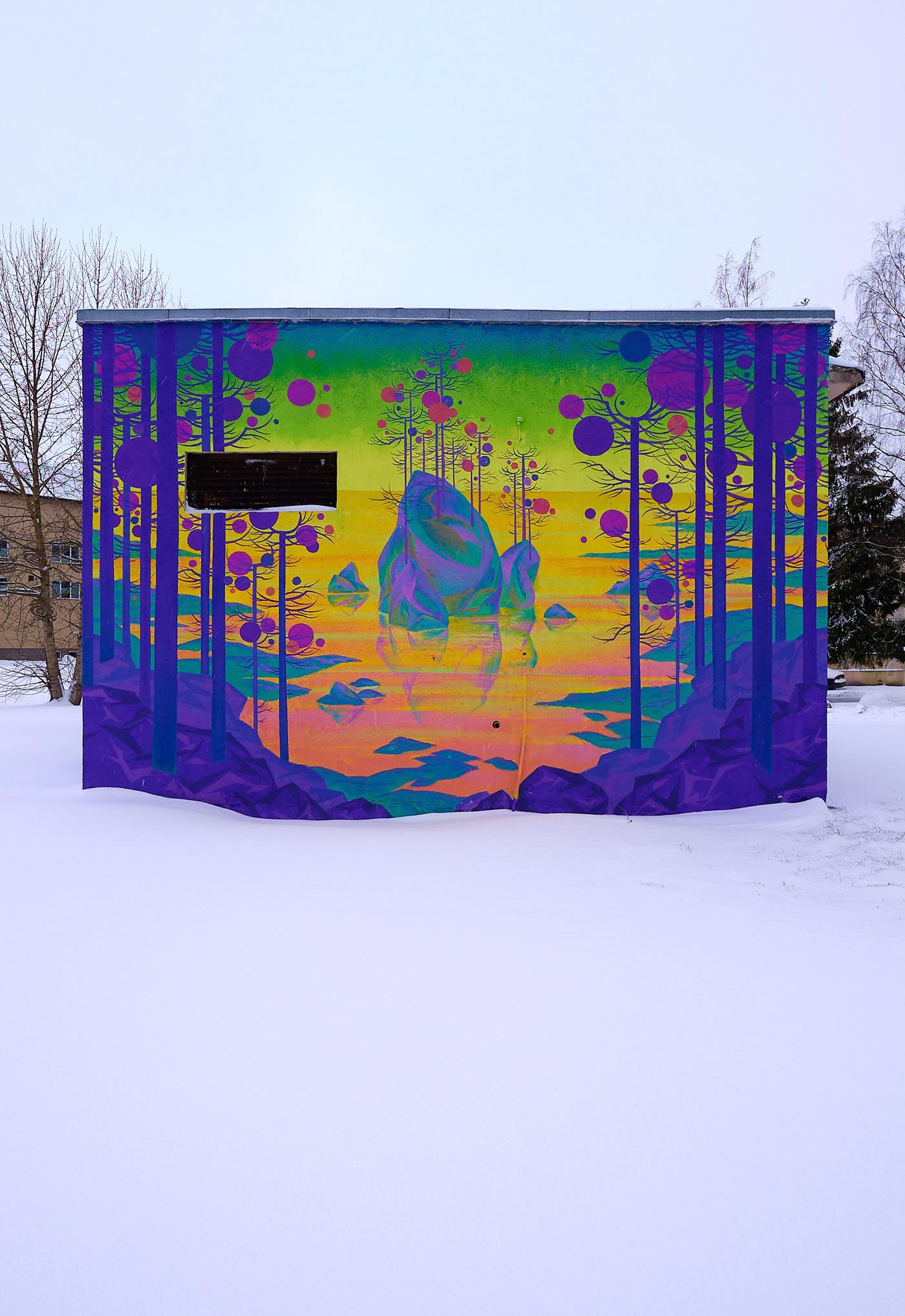 ILLUSTRATION  lexzooz Mural Northern Lights snow streetart Urbanart winter