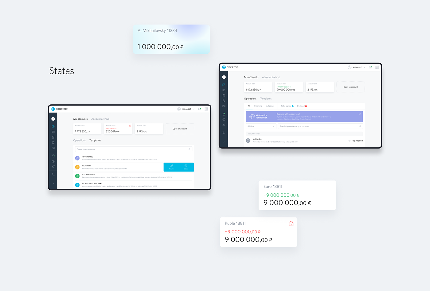 Bank business Interface redmadrobot UI ux Web