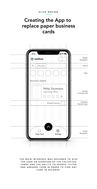 business card app smartphone NFC Interface design concept interaction Minimalism