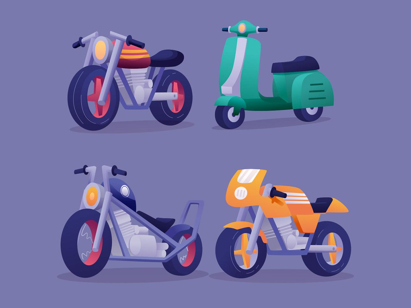 Character freebie ILLUSTRATION  Illustrator motorcycle motorcycle illustration vector vector design vector download Vector Illustration