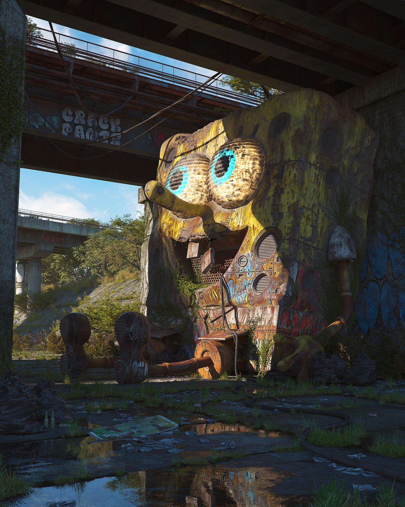 pop culture 3D Scifi Renders realistic cinema4d spongebob star wars mickey mouse