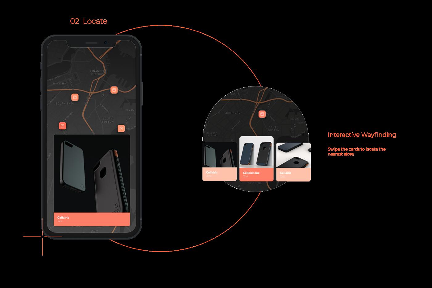 customisation dark mode Interaction design  map micro interactions phone case prints product design  ui ux Behance