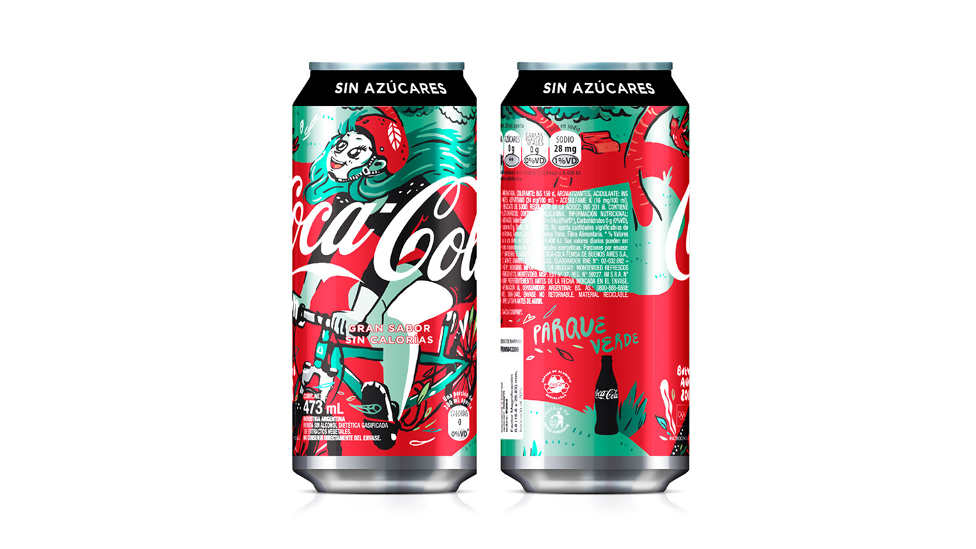 BAYOG bicycle girl Coca Cola coca cola can packaging illustration soda can