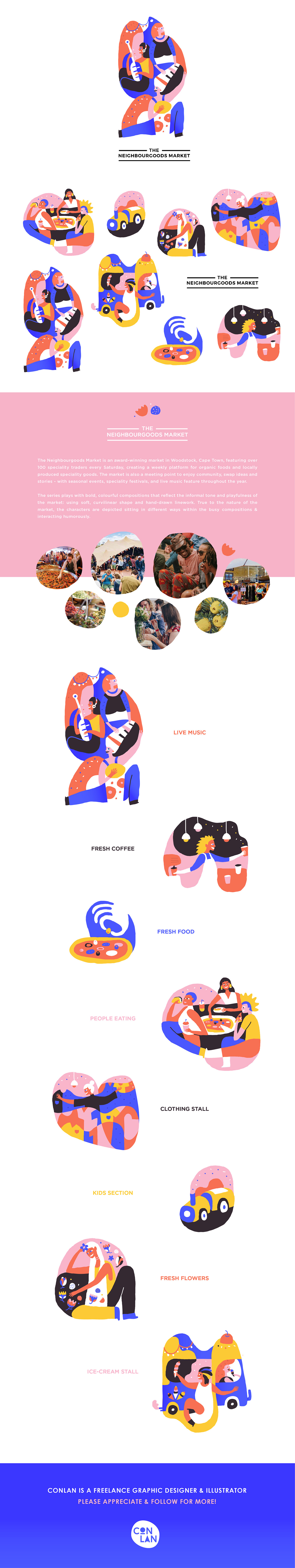 characters hand-drawn Colourful  curvilinear market festivals The Neighbourgoods Market cape town humorous adobeawards