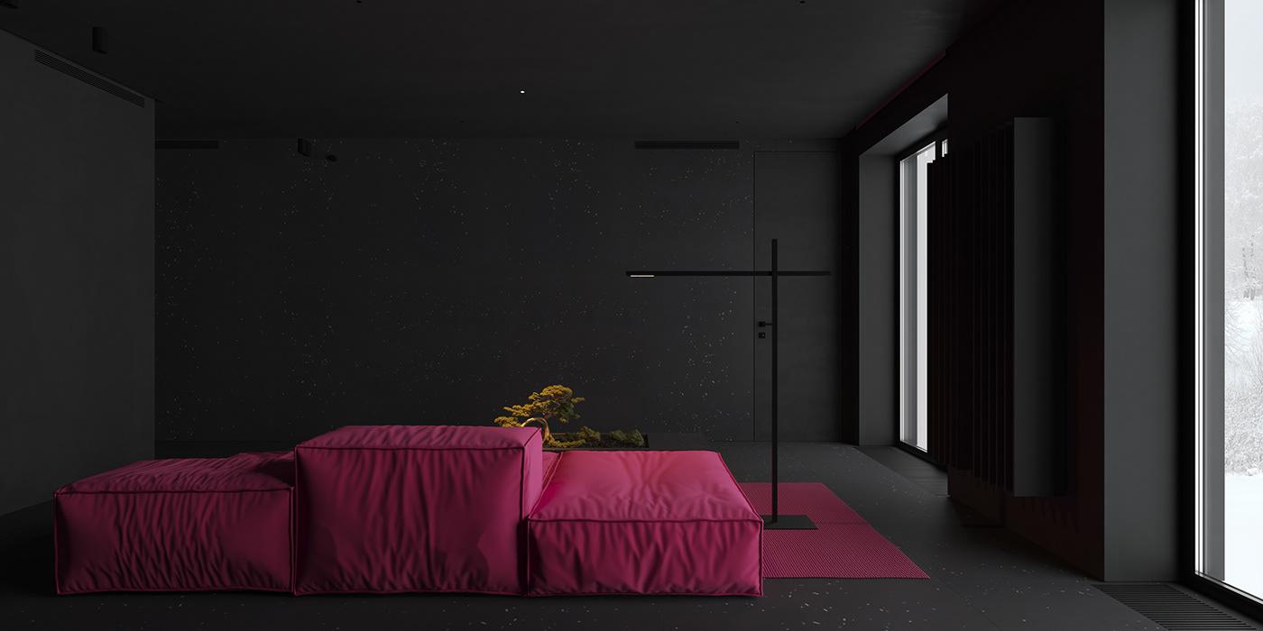 bathroom bedroom black interior Black Minimalist Dark interior DUBAI INTERIOR interior design  kitchen living room