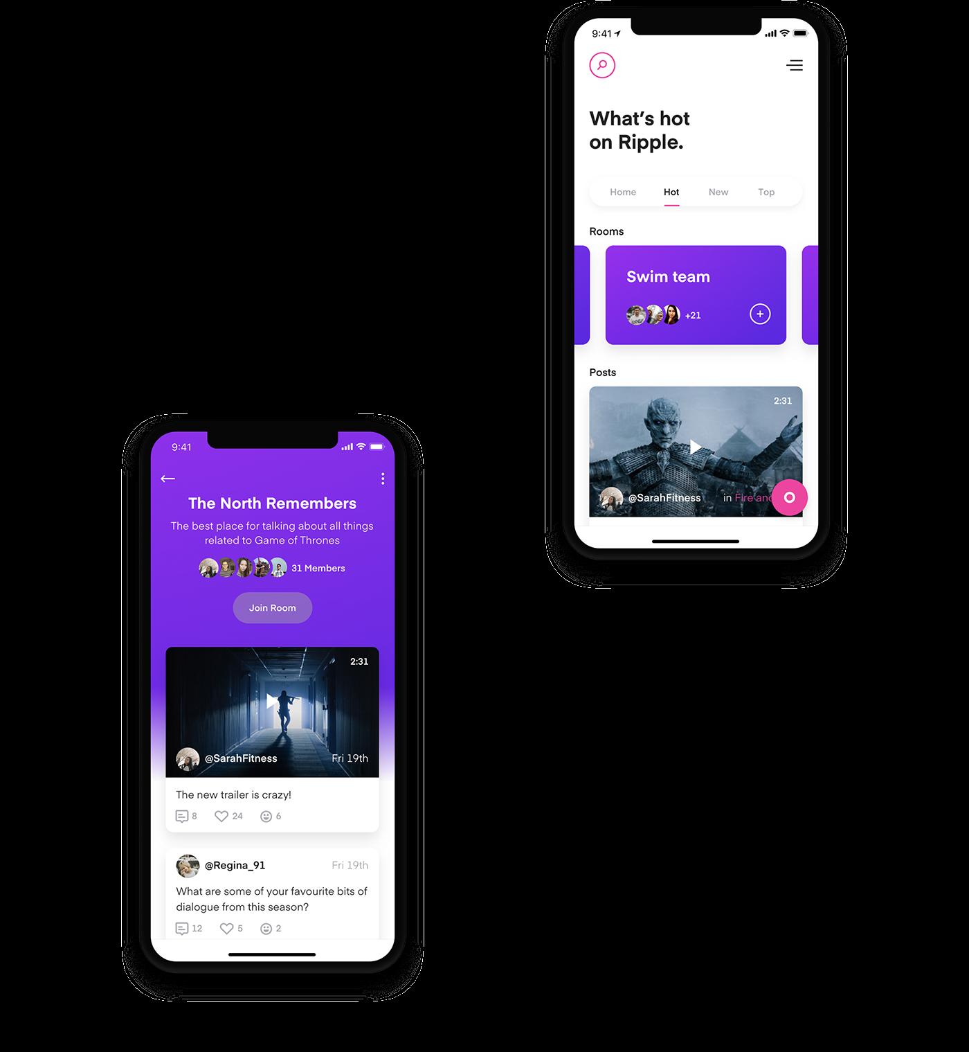 app UI ux animation  social college iPhone x ios motion design
