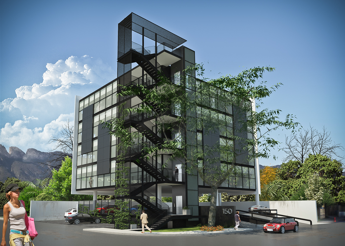 offices,building,stairs,parking,mexico