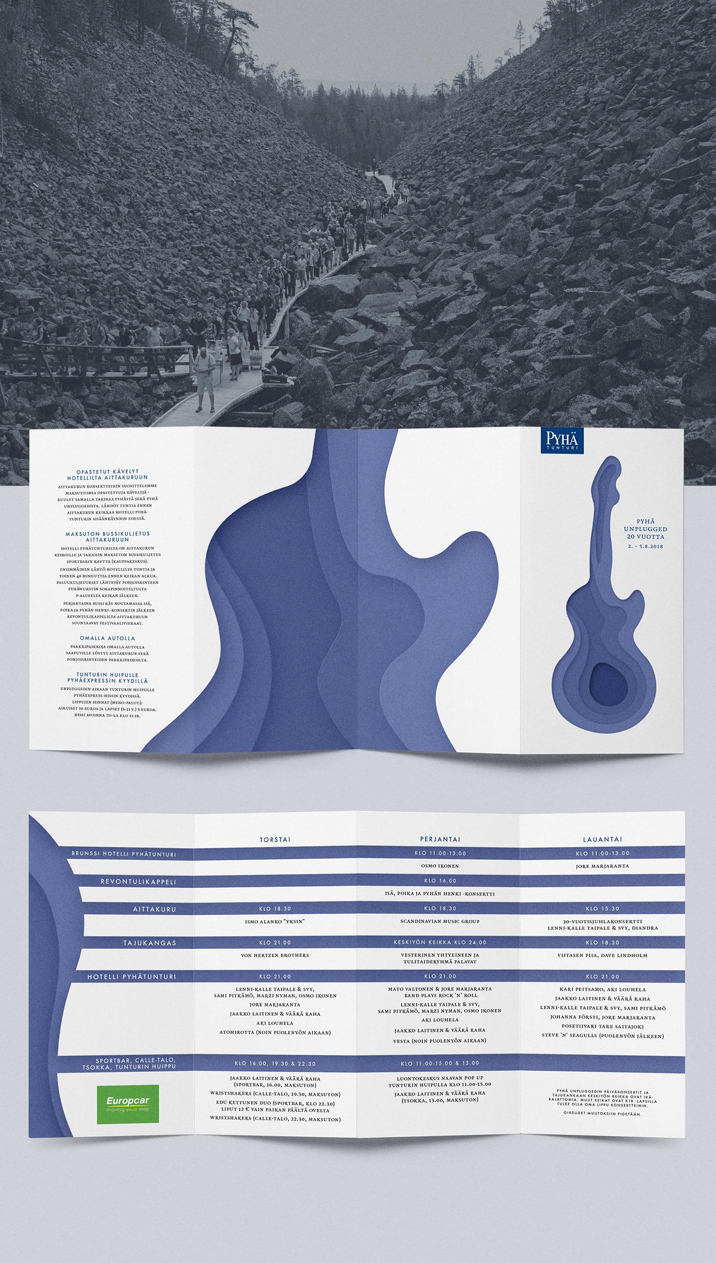 festival music Nature acoustic papercut finland topography brochure identity blue