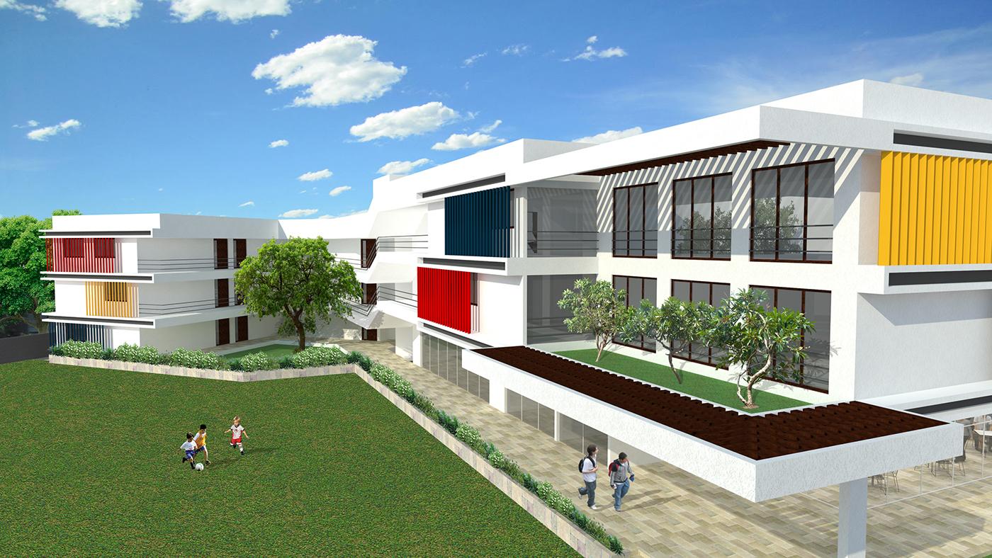 school,Maharashtra,louvres,colour,ventilation,Natural Light,planning