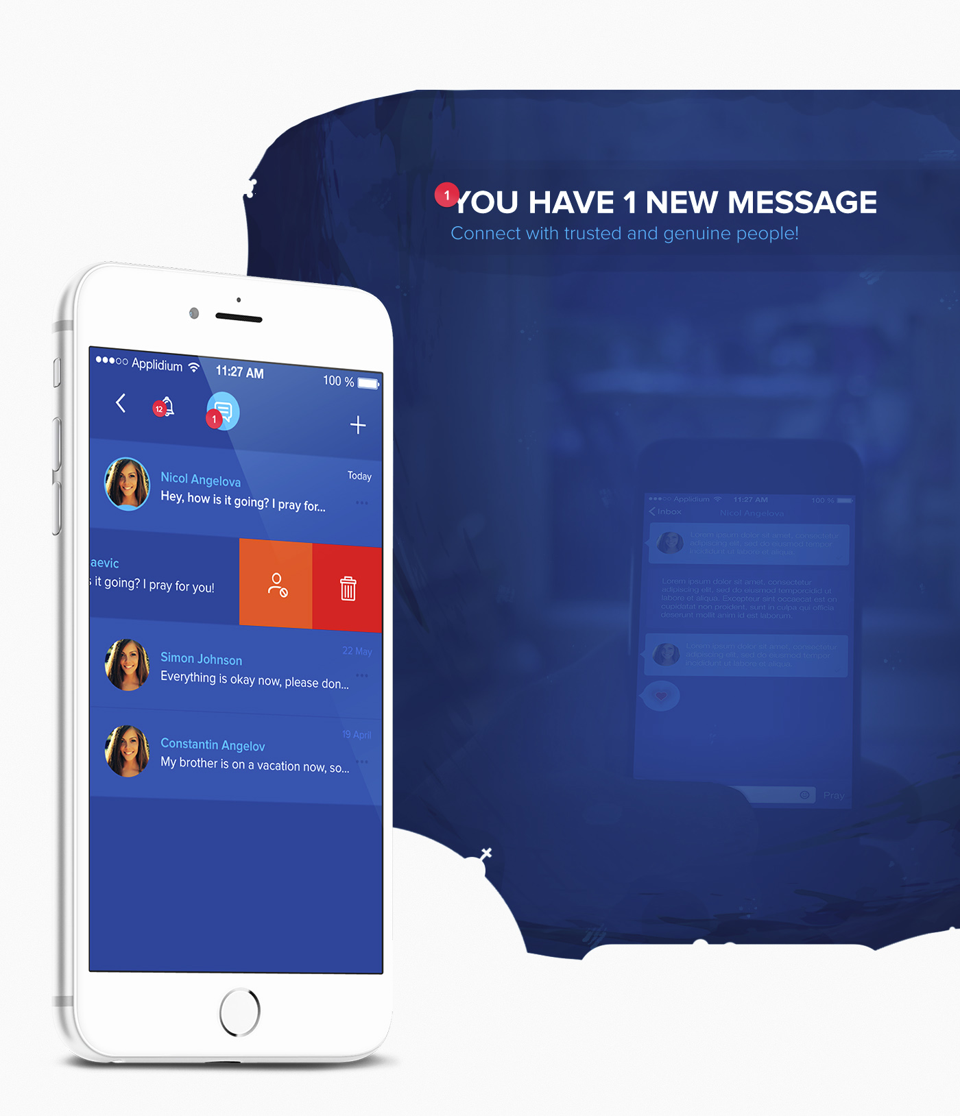 social app blue Pray church Christian Catholic lemun digital Love UI ux flat ios free