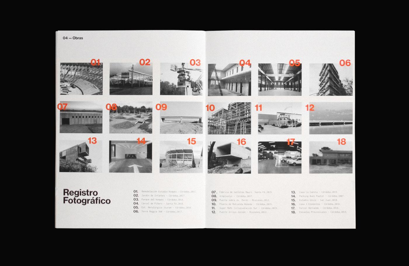 orange construction brochure editorial building architecture car Truck construccion Obras