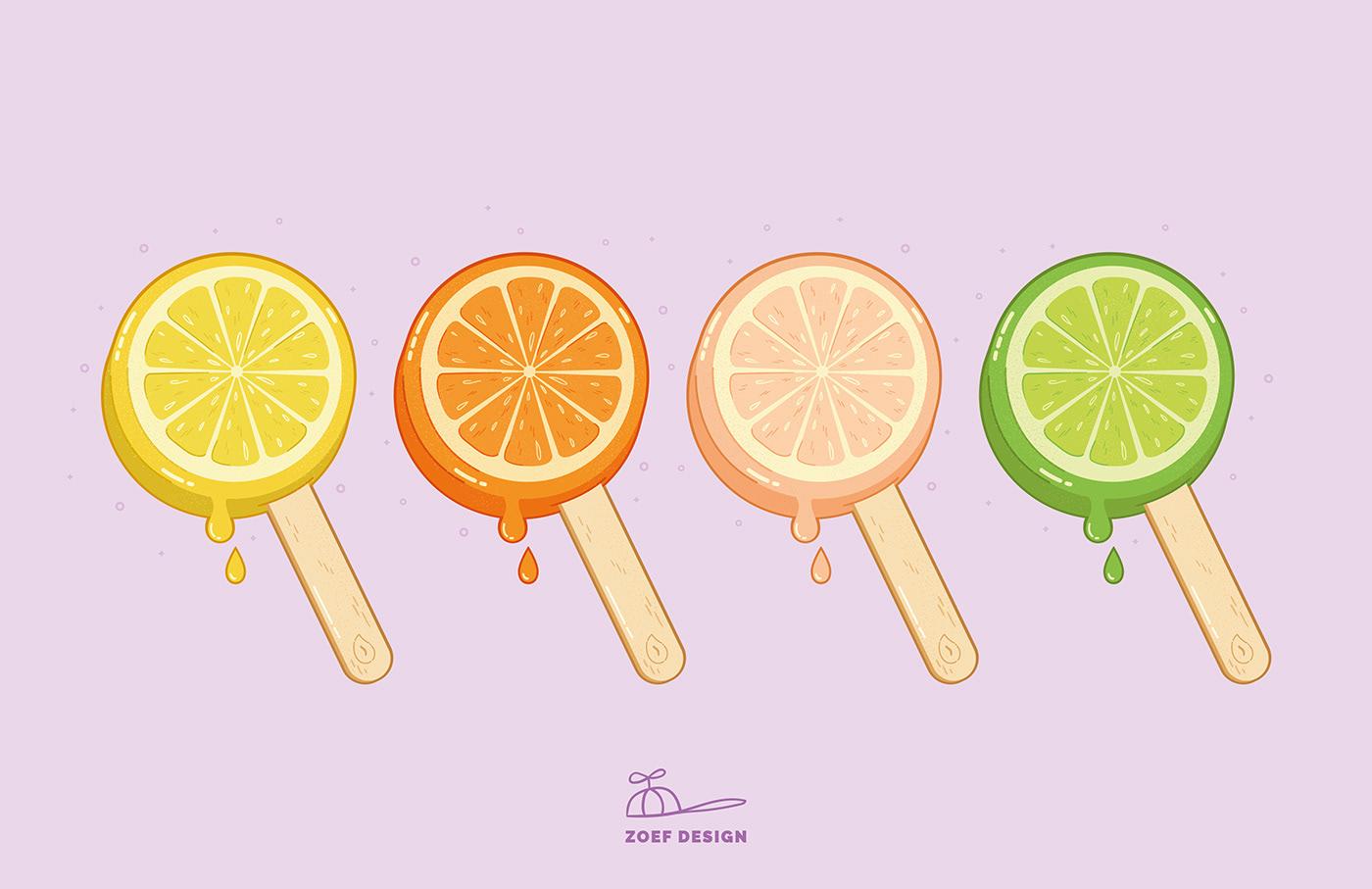 citrusfruits,fabric print,icecream,Illustrator,popsicle,summer pattern design,vector