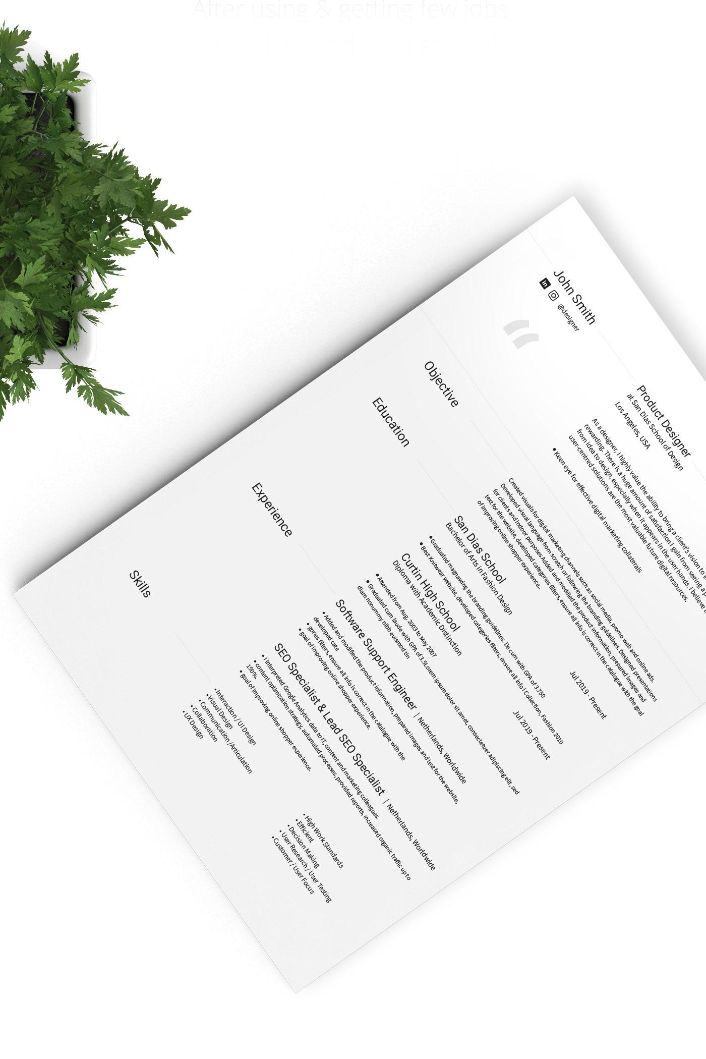 a4 a4 cv business card clean clean resume cover letter creative Creative Resume Curriculum Vitae CV