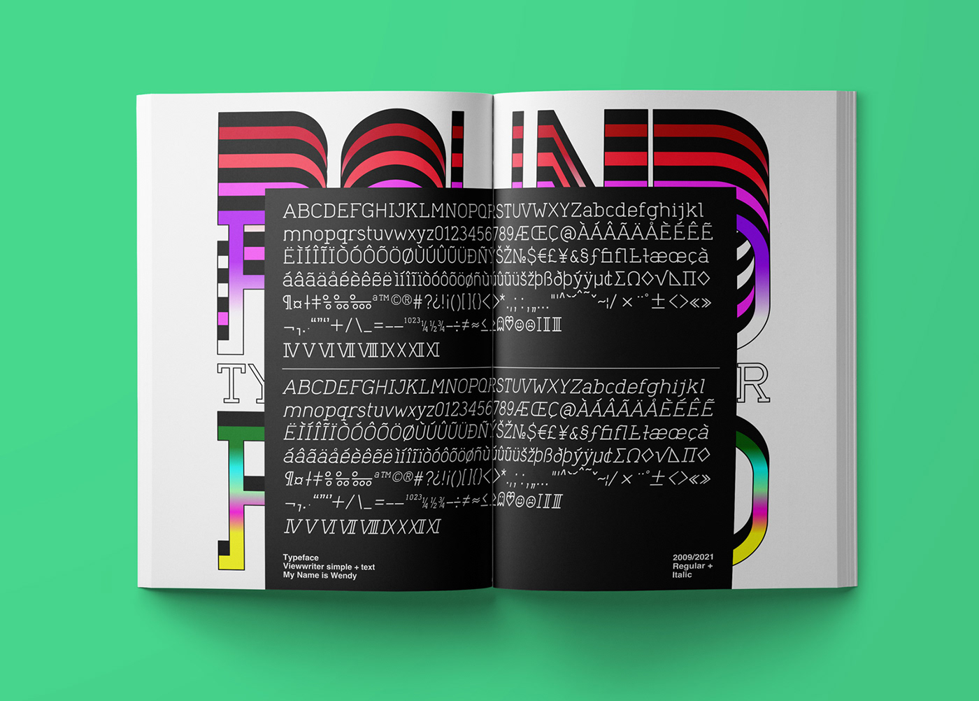Creative layouts featuring ViewWriter typography