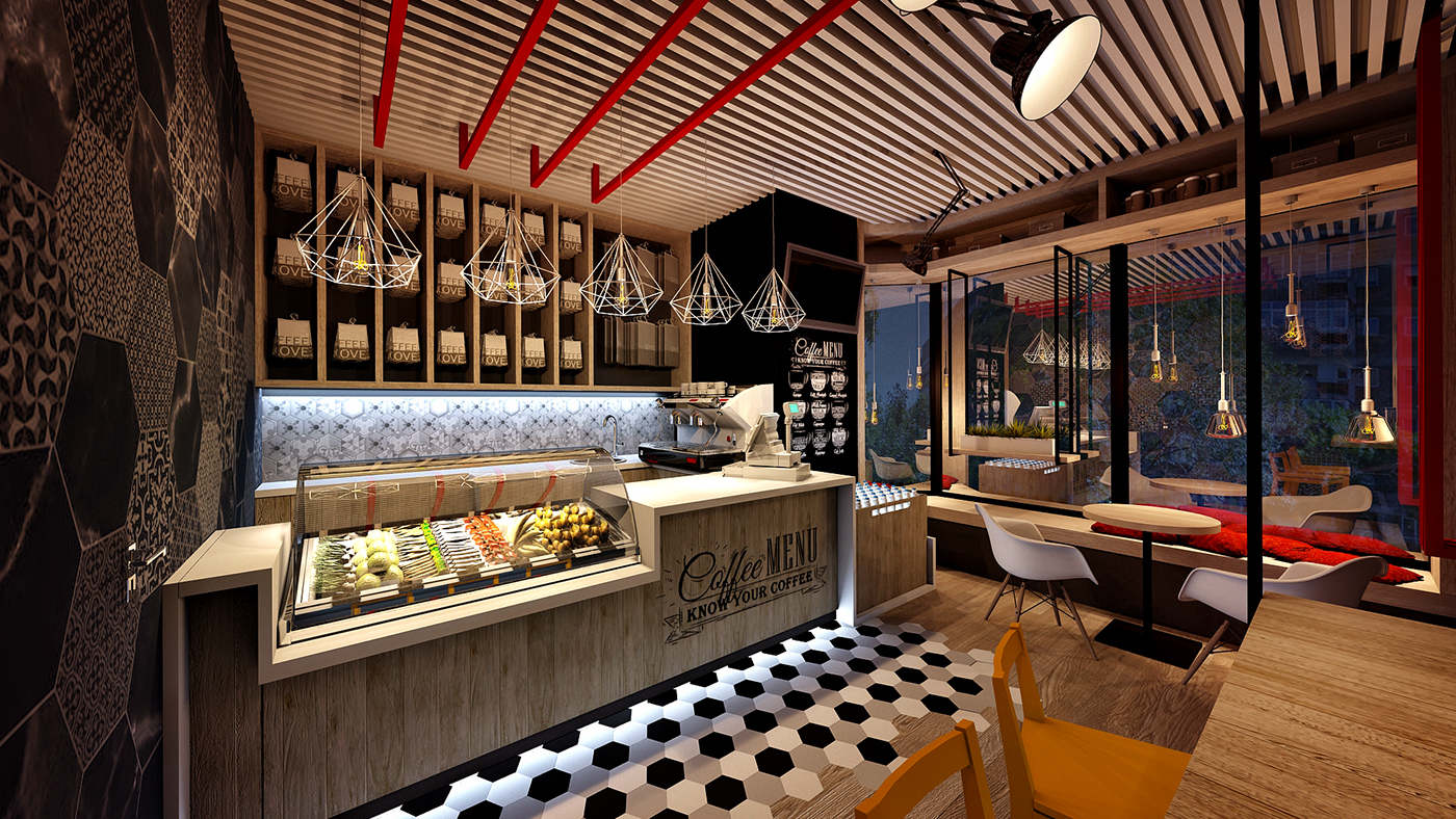 coffe shop COFFE DESIGN  industrial design  coffeshop design bistro design coffe hexagonal mosaic