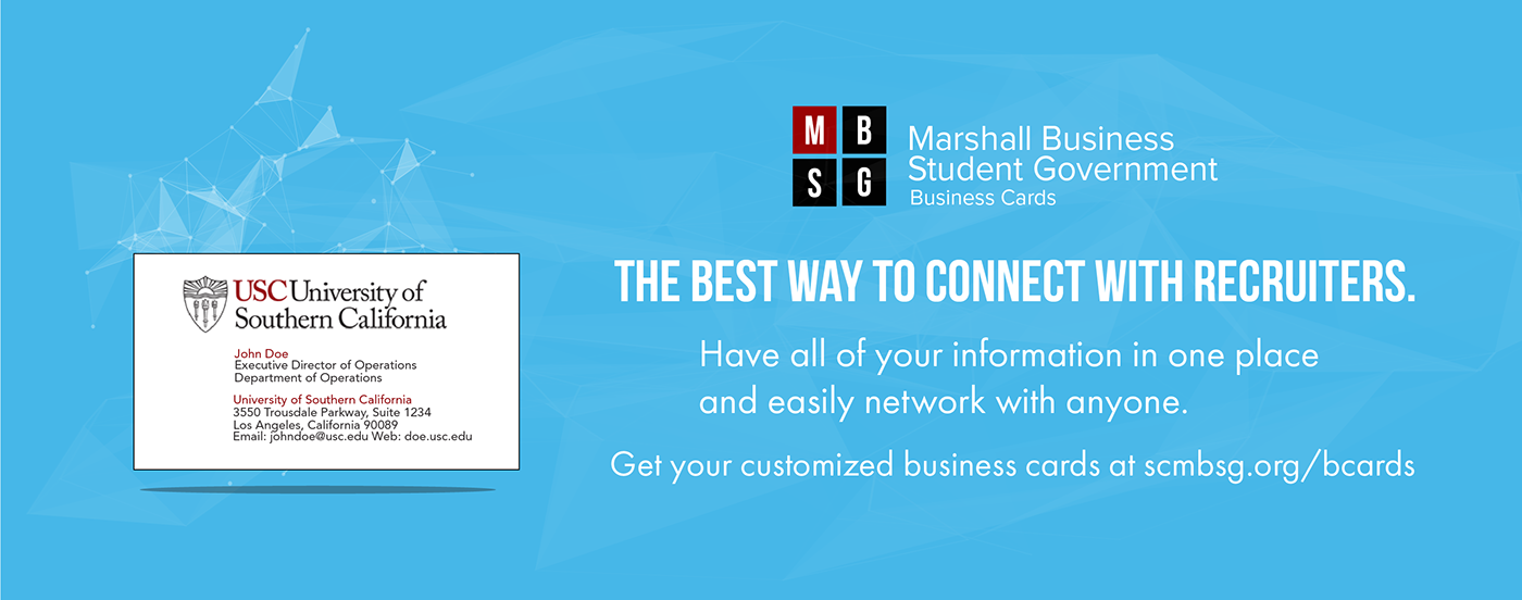 Usc Marshall Business Cards On Behance