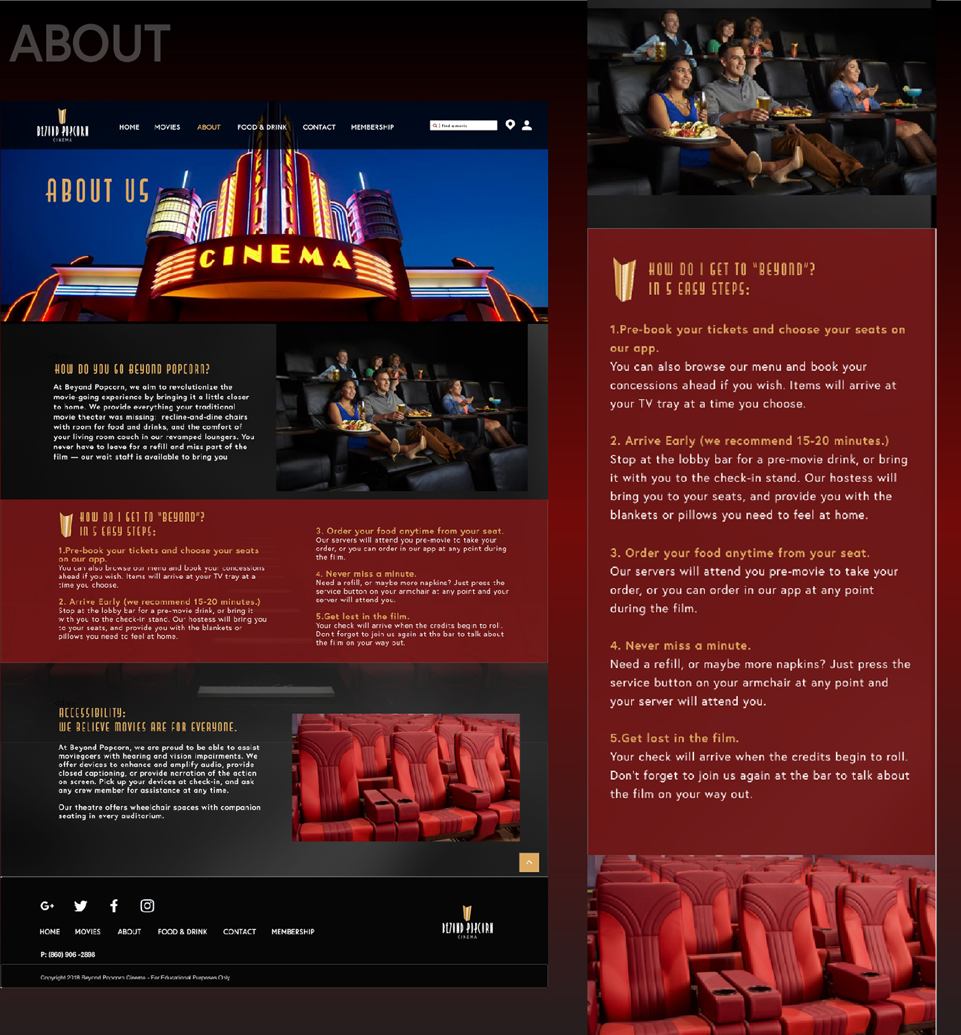 Beyond Popcorn - Movie Theater Website Design on Behance