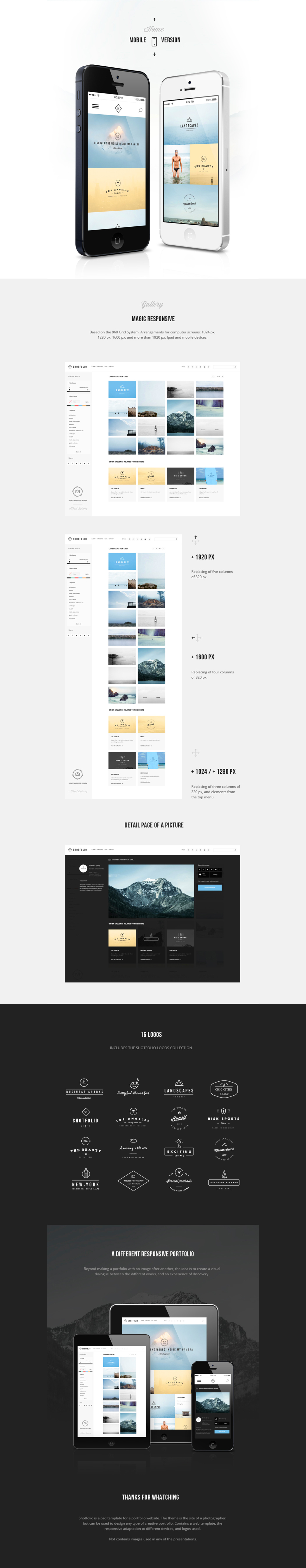 Theme template portfolio creative logos Responsive photo design