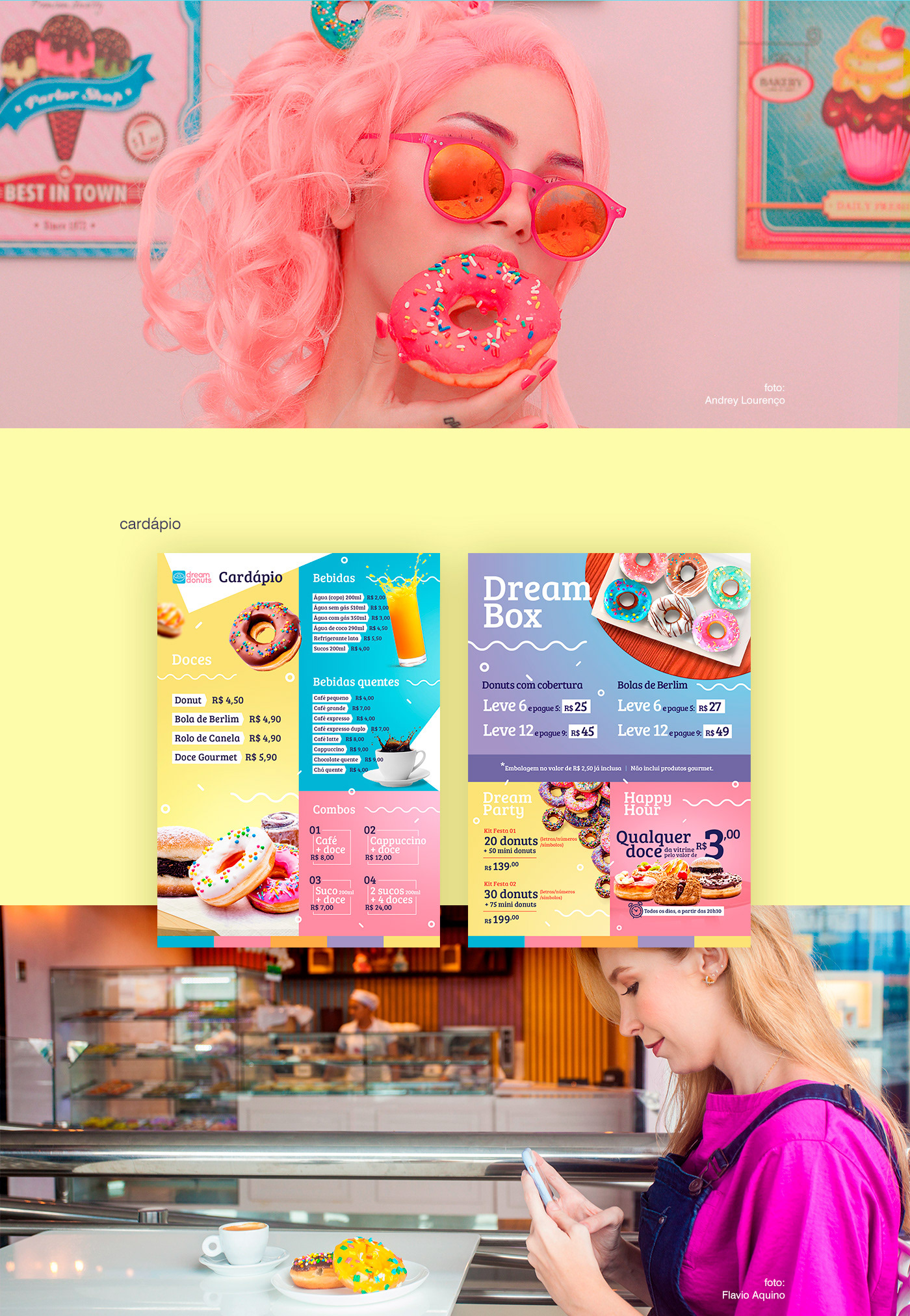 sweet bright colorful Candy doughnut branding  cheerful social media
