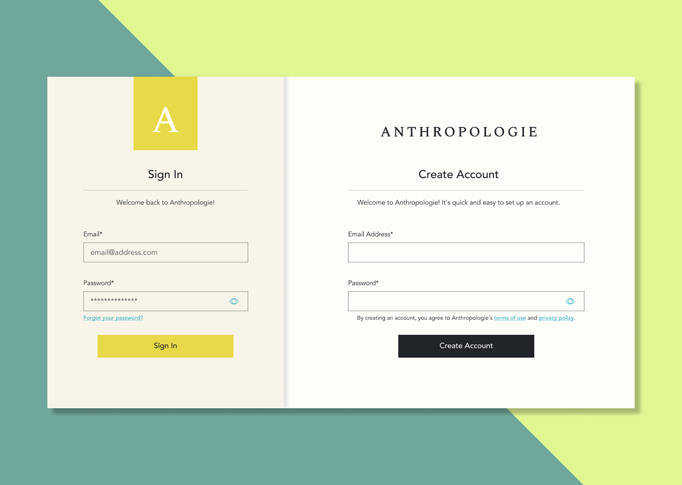 Figma Interface Web Design  Anthropologie daily ui DailyUI sign up UI/UX ux Website