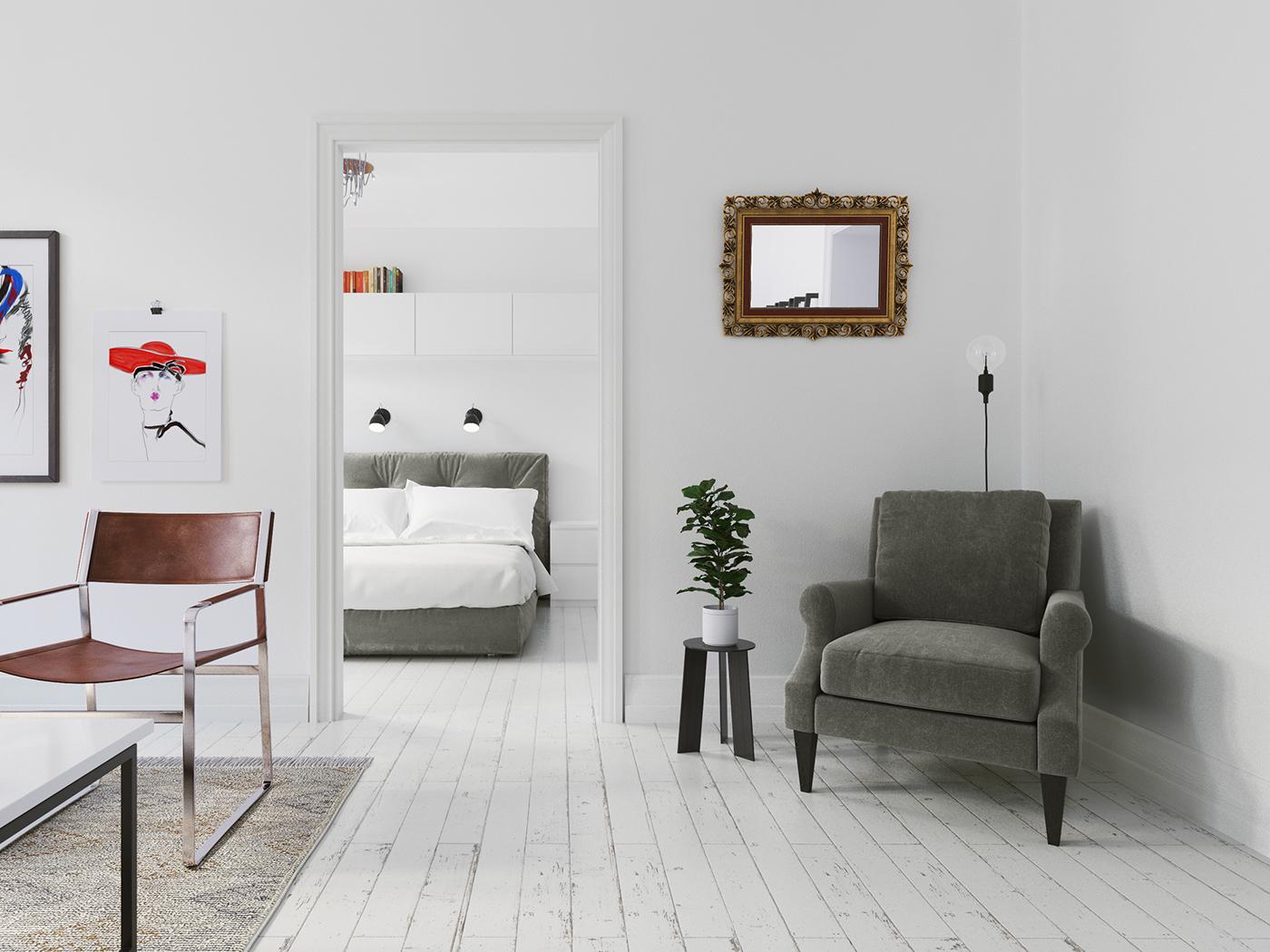 Scandinavian White Interior corona render  visualisation livingroom bedroom modern