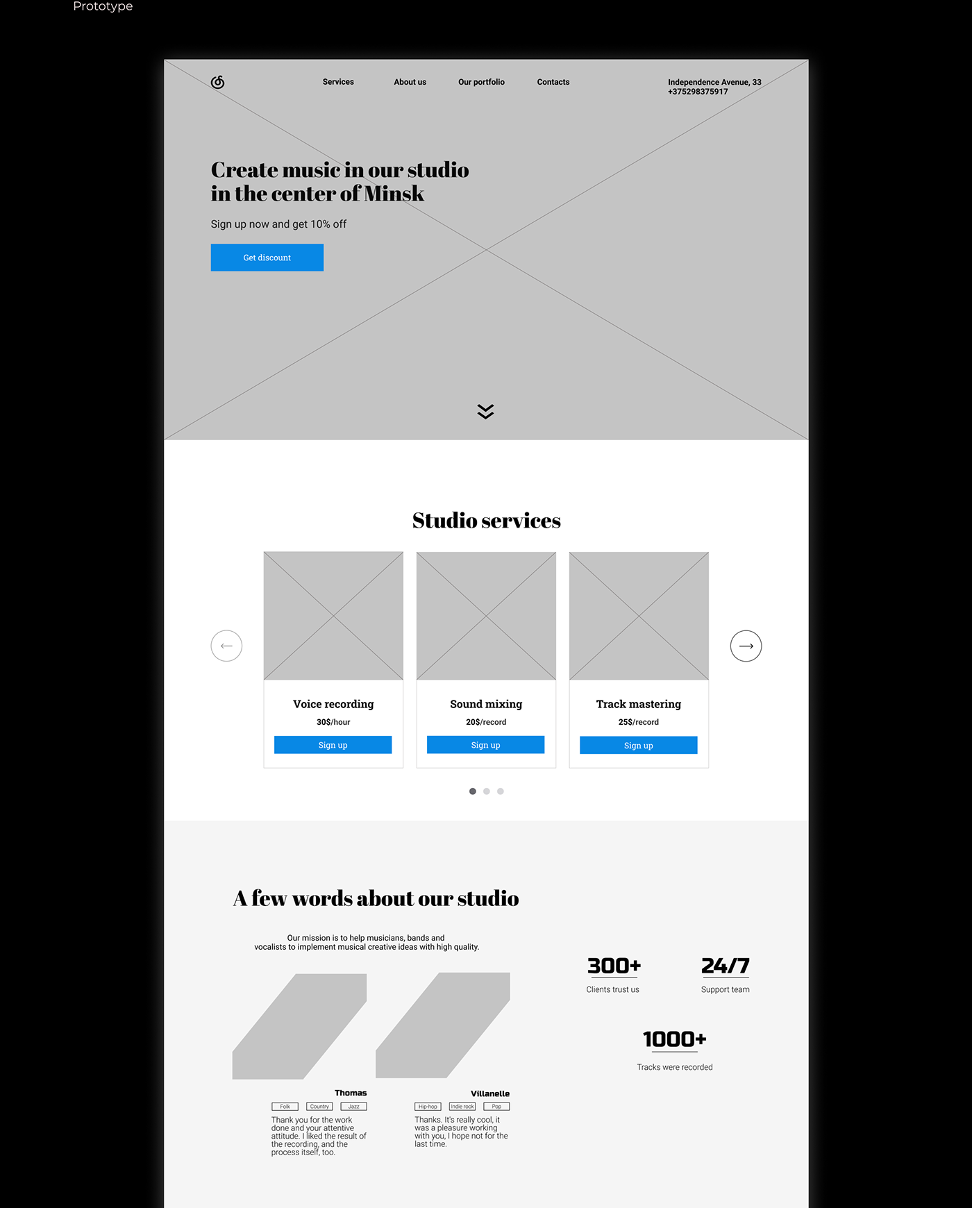 Adaptive Figma landingpage Recording studio UI/UX Web Design