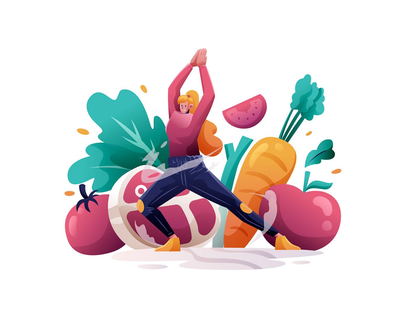 Character freebie ILLUSTRATION  Illustrator vector vector design vector download Vector Illustration woman Yoga illustration
