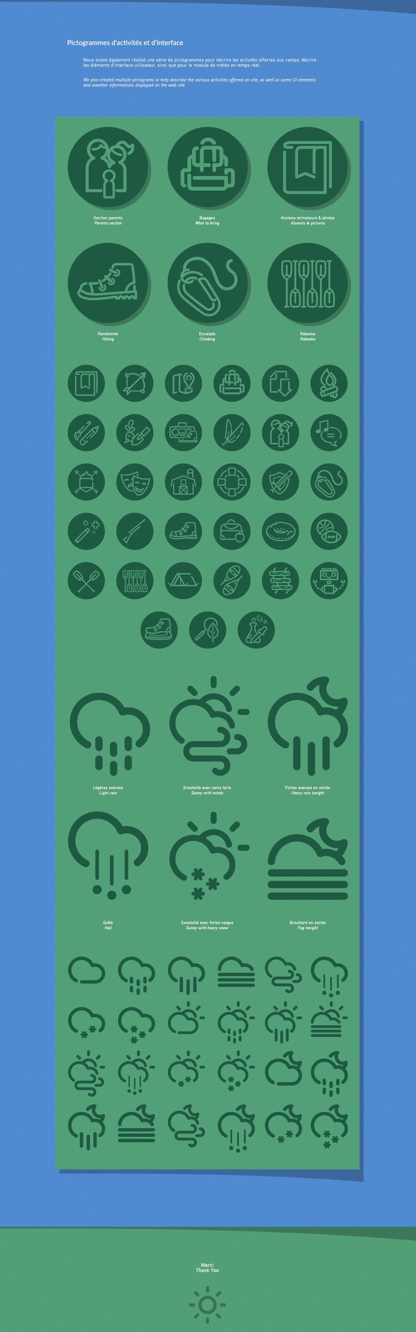 Camps Odyssée Web Design  camps de jour summer camp pictogrammes