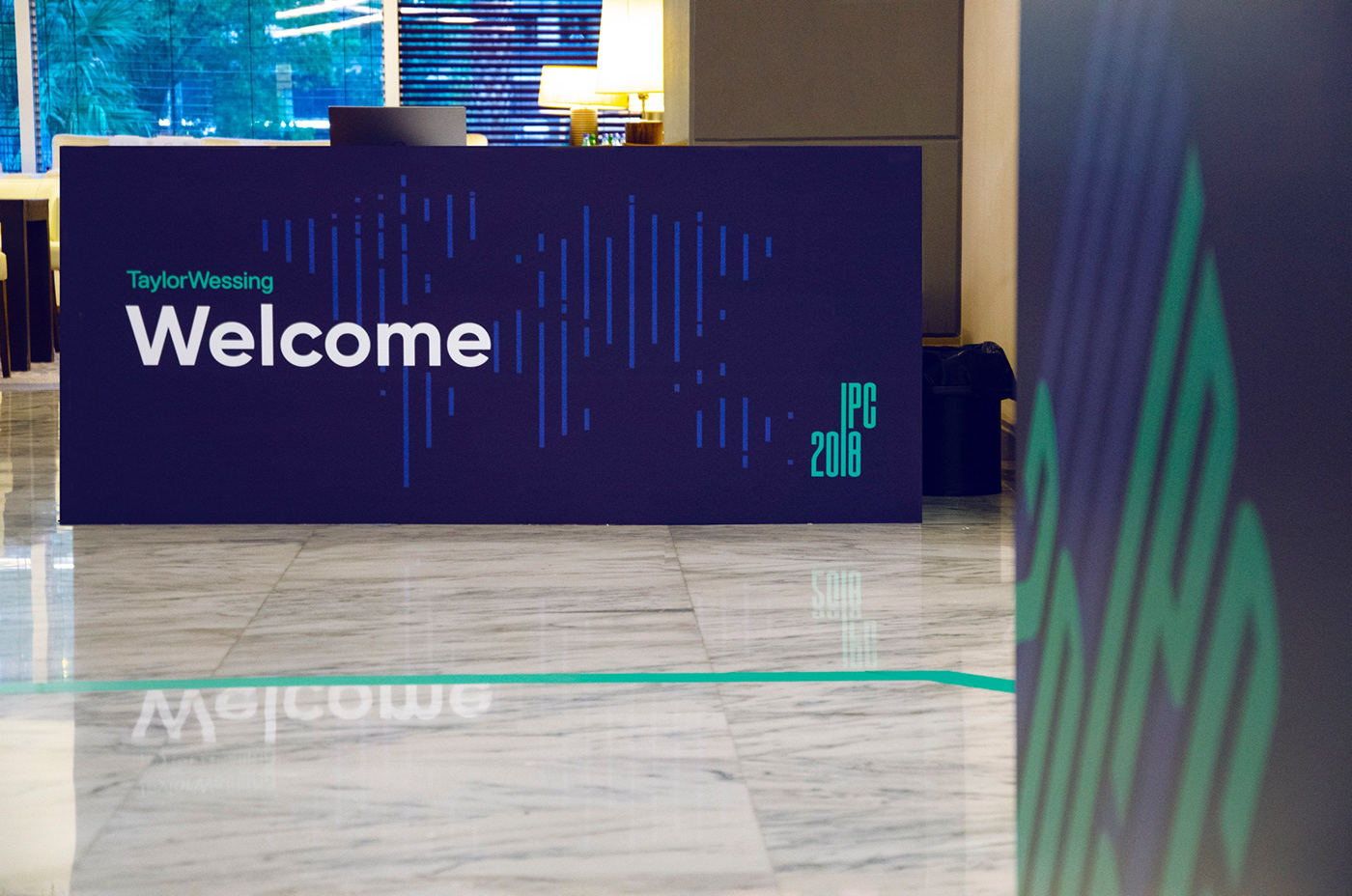 geometric lines Exhibition  conference Event blue logo colorful identity