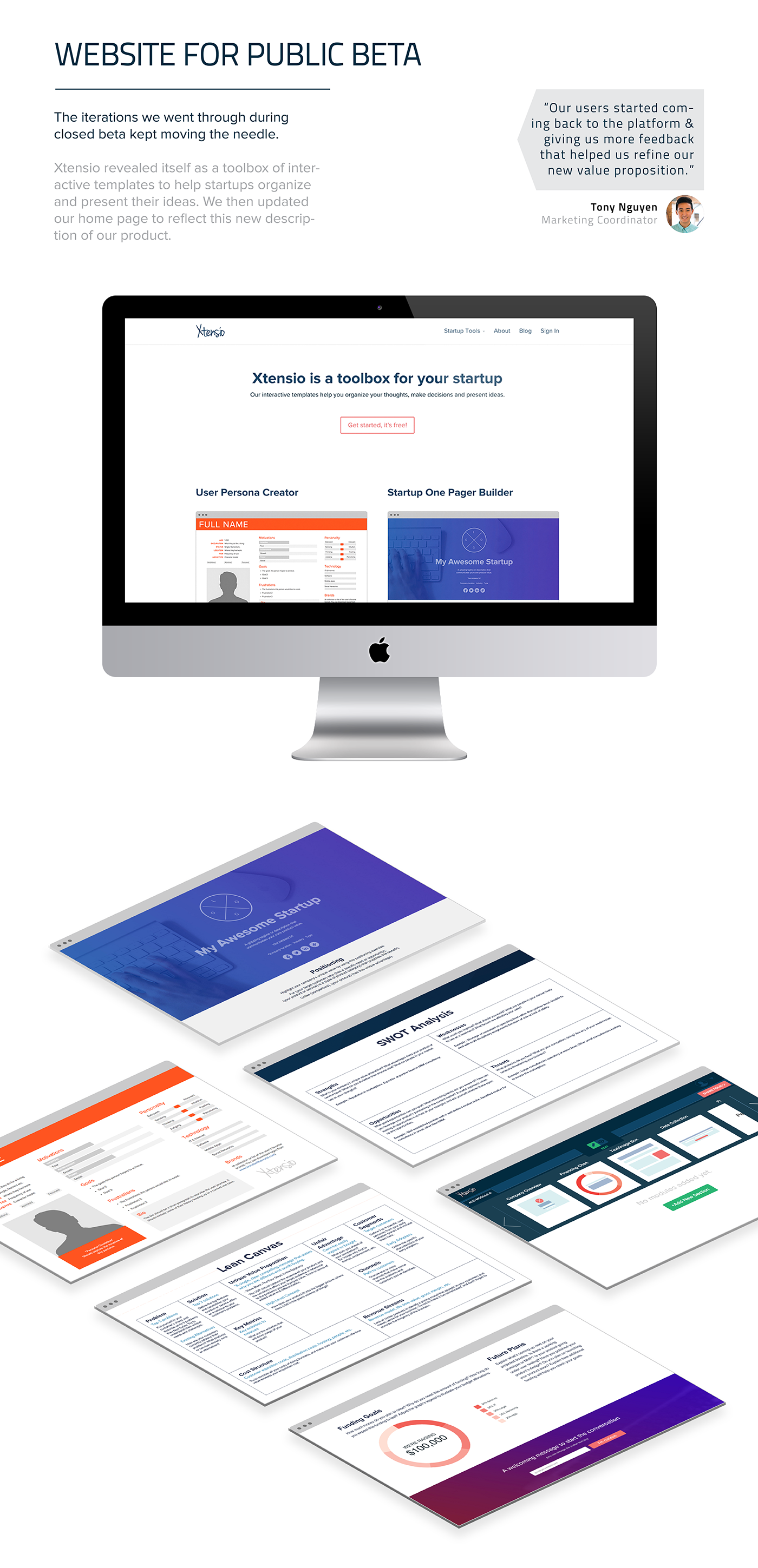 xtensio,one pager builder,user persona,lean canvas,swot analysis,startups,entrepreneurs,mvp,in-line editing,drag and drop,SAAS,design tools