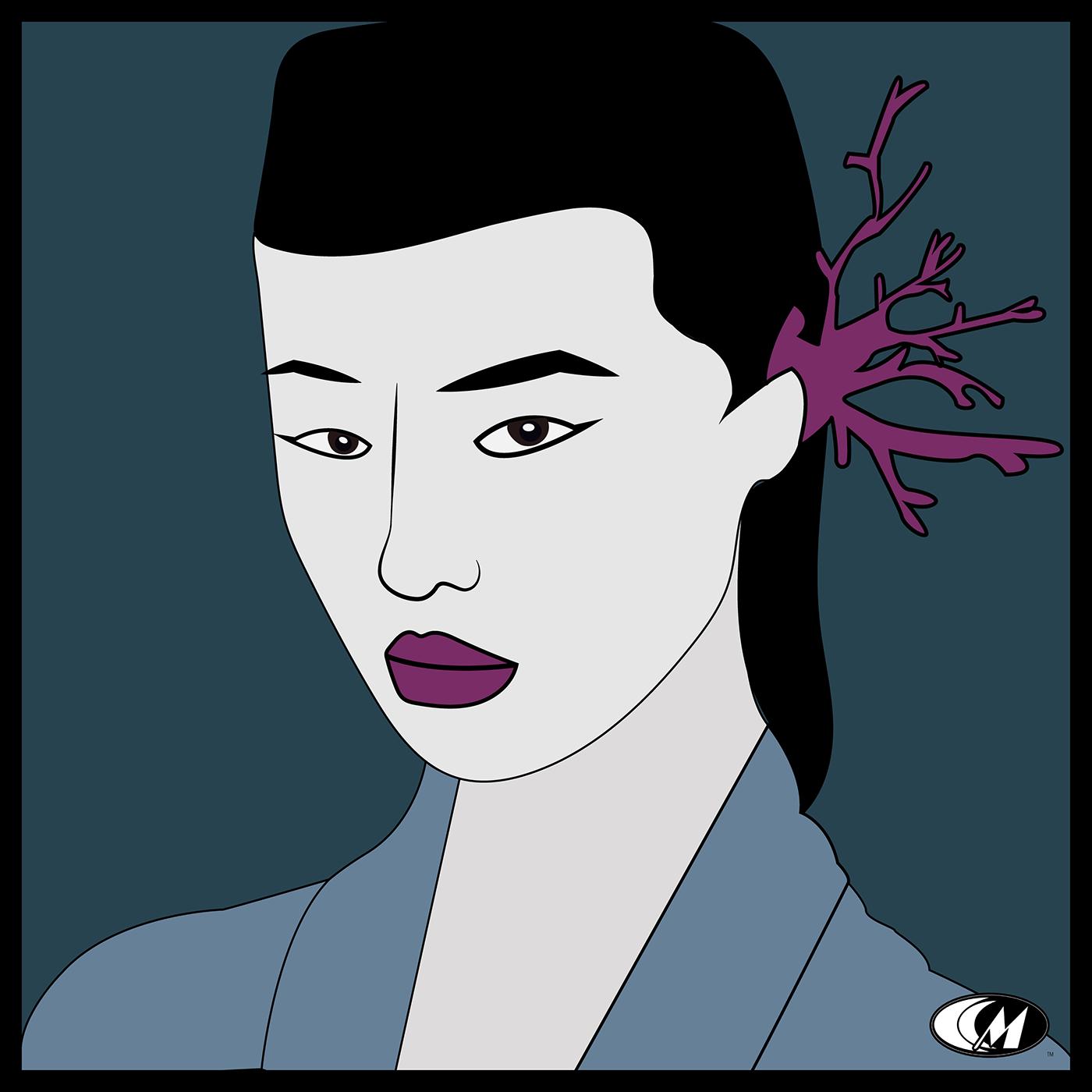 Fashion  beauty asian ILLUSTRATION  art direction  Freelance portrait vector