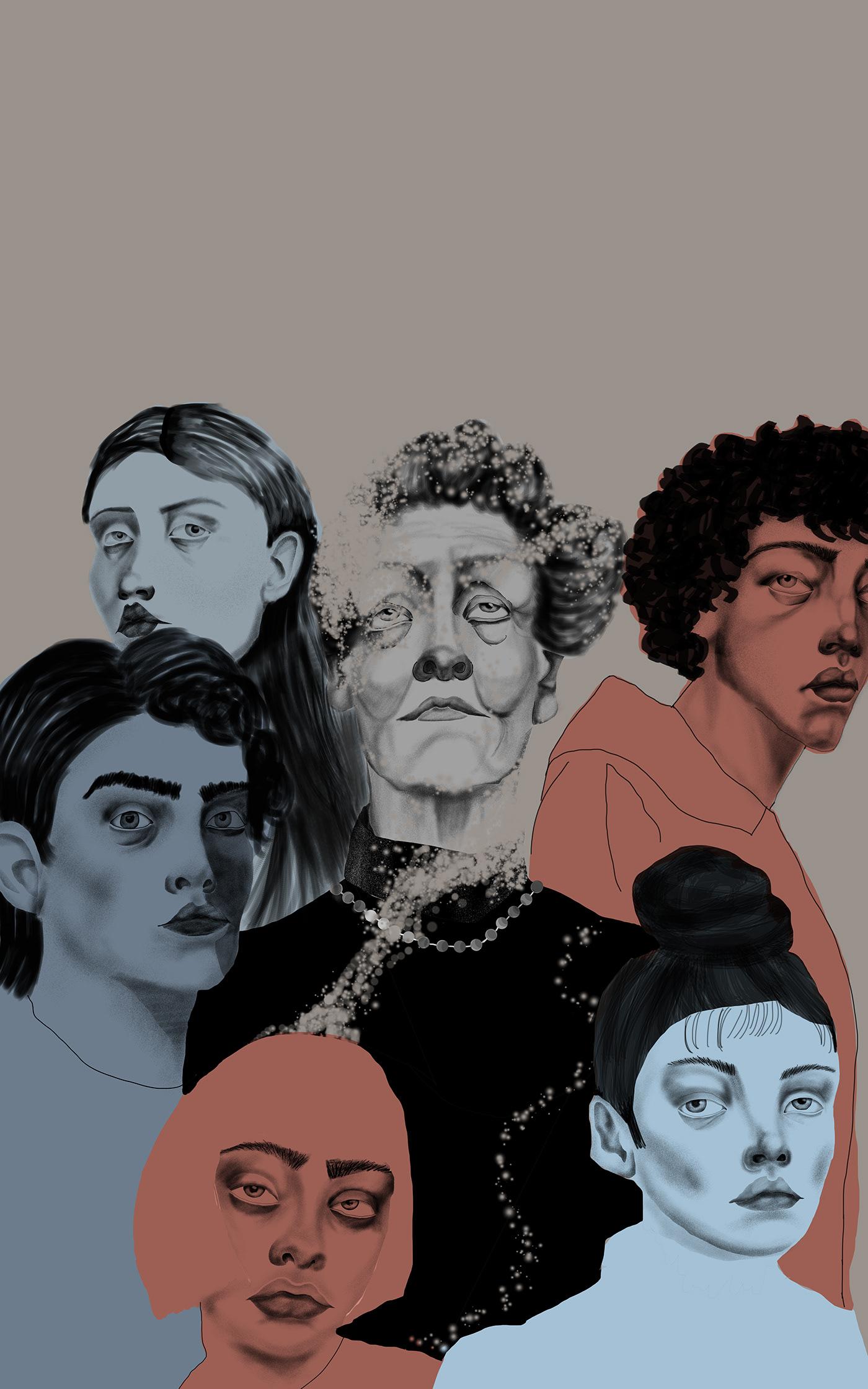 art conceptart digitalart Drawing  editorial ILLUSTRATION  magazine photoshop portrait sketch