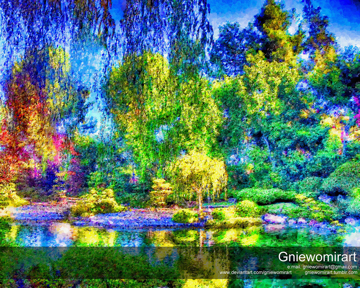 Image may contain: pond, painting and nature