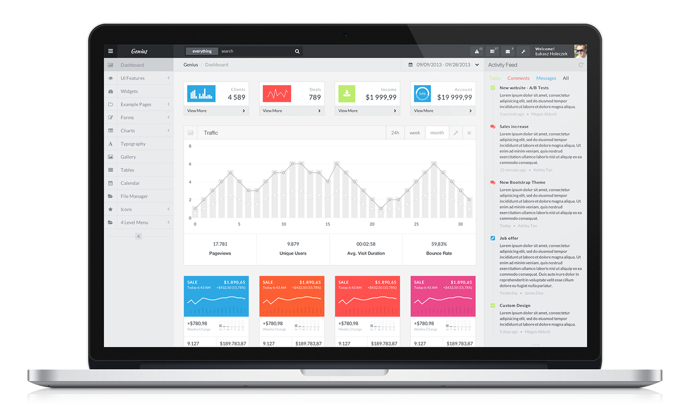 Genius bootstrap admin template on behance for Bootstrap 3 email template