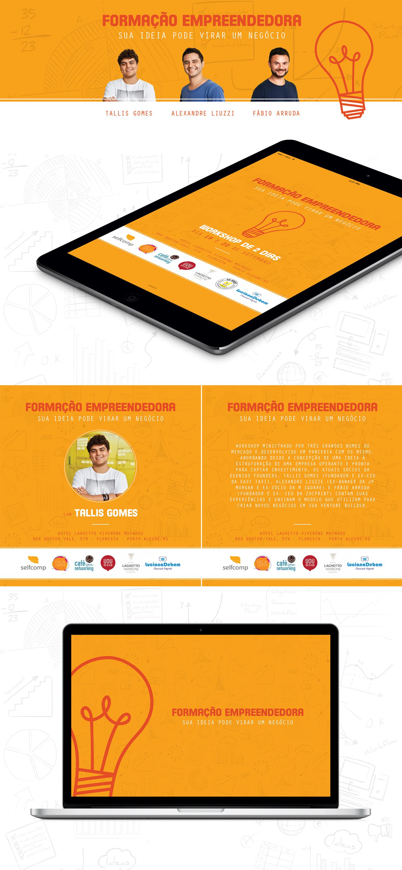 Workshop empresa ideias investimento Capacitação business logo orange