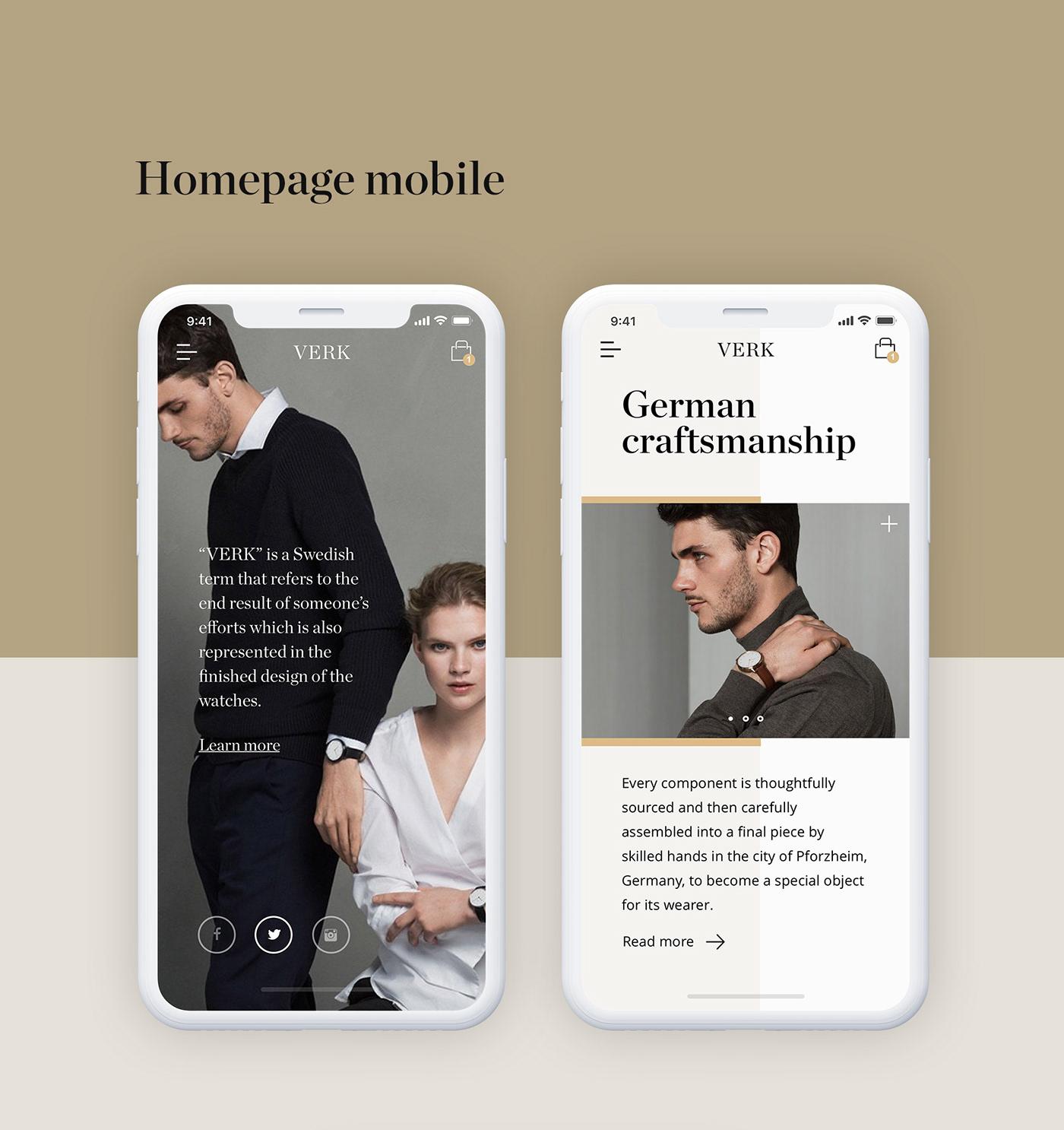 Fashion  redesign Watches VERK modern clean interaction concept landingpage mobiledesign
